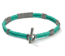 2 - Strand Carved Small Silver Plate Vinyl Bracelet Turquoise