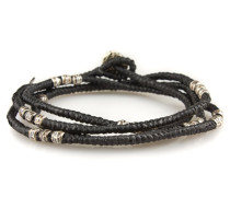 4 - Layer Knotted Wrap Silver Bead Bracelet Black