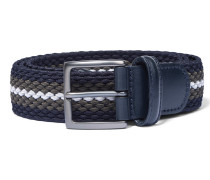Elastic Braided Belt Blue/Olive/Silver
