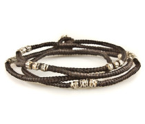 4 - Lyer Knotted Wrap Silver Bead Bracelet Brown