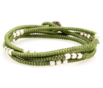 4 - Layer Knotted Wrap Silver Bead Bracelet Green Kaki