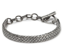 Thick Woven Sterling  Cavalry Cuff & Chain Sterling Silver