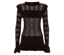 Cypre Pointelle Frill Top,  Black