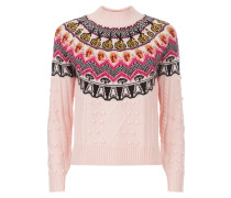 Cable Jacquard Jumper,  Cameo Pink Mix