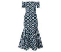 Midi Onyx Jacquard Evening Dress,  Lapis Mix