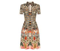 Spiral Printed Mini Dress, Cinnamon Mix