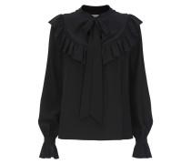 Costume Silk Ruffle Blouse,  Black