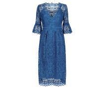 Titania Lace Sleeved Dress,  Indigo