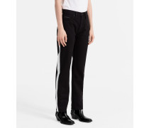 High-Rise Straight Taped-Jeans