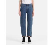 Knöchellange High-Rise Straight-Jeans