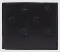 Schmales Leder-Portemonnaie mit Prägung