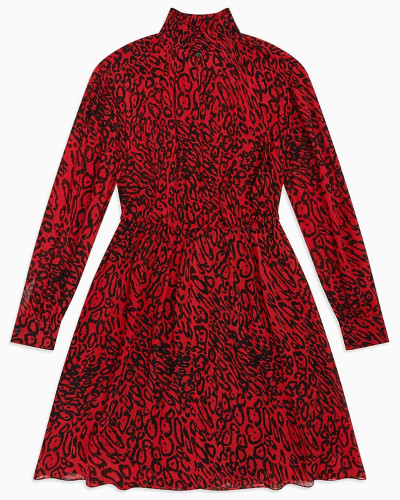 Georgette-Kleid mit Leopardenprint