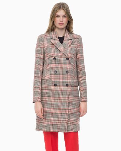 Karierter Mantel aus Wollgemisch
