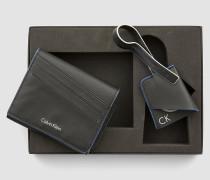 Geschenkbox Leder-Portemonnaie und Taschenanhänger