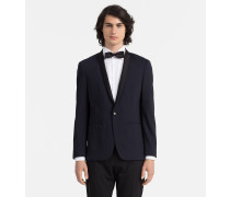 Taillierter Smoking-Blazer aus Woll-Stretch