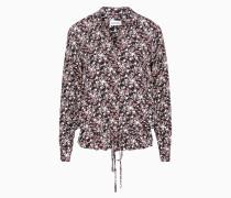 Florale Bluse mit Saum zum Binden