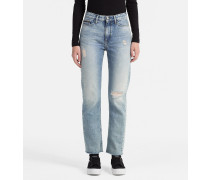 Knöchellange High-Rise Straight-Jeans
