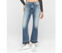 High-Rise Cropped-Flare-Jeans