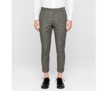 Taillierte Woll-Leinen-Hose