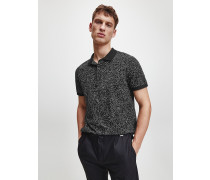 Poloshirt mit Print aus Baumwoll-Piqué