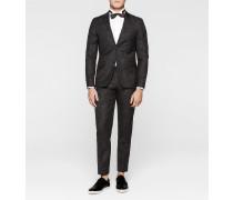 Taillierter Jacquard-Anzug mit Woll-Seidengemisch
