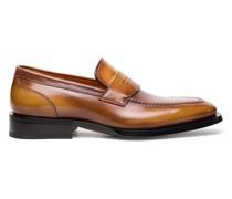 Braune Mokassins im Penny-Stil für Herren aus Leder in Antik-Optik