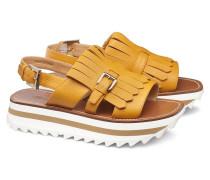 Sandalette aus Leder mit Fransen