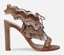 Sandalette aus Leder und Veloursleder