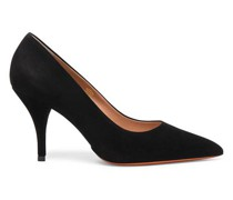 Schwarze Pumps für Damen mit hohem Absatz aus Veloursleder