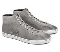 Hoher Sneaker aus Leder in Textiloptik