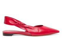 Rote Slingback-Ballerinas für Damen aus Leder mit seitlichem Knoten