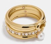 Klassisches Kristall-Perlen-Ring-Set