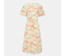 Kurzärmliges Kleid mit Trompe-l'ail-Effekt