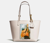 Tote In Glovetanned Leather With Archive Print