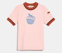 Doppelt gebundenes T-Shirt mit Apfel-Grafik
