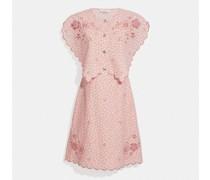 Bedrucktes kurzes Kleid mit Lochstickerei