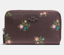 MittelgroBes Portemonnaie aus beschichtetem Canvas mit ReiBverschluss, Kreuzstich und Blumen-Print