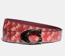 Wendbarer Gürtel mit charakteristischer Schnalle und Pferdekutschenprint, 38 mm