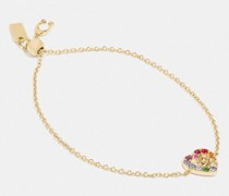 Rainbow Pave Sculpted Signature Heart Slider Bracelet