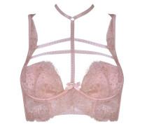Davinah Bra In Nude Overlaid With Silk Leavers Lace