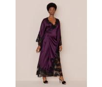 Nayeli Long Kimono In Plum Silk and Black Lace