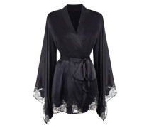 Gloria Kimono In Black Silk With Floral Lace