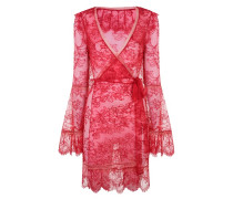 Alannah Kimono In Red Lace With Flared Sleeves