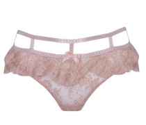 Davinah Brief Made From Silk Leavers Lace In Nude With Pink Trim