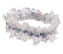 Celiia Wedding Garter In Blue With White Floral Lace