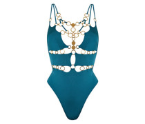 Davine Swimsuit In Green With Plunge Neckline and Gold Tones
