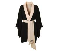 Kiki Kimono In Black Silk With Pink Sash