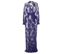 Palmina Dressing Gown In Navy Blue Floral Lace