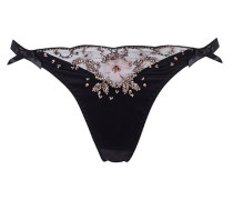 Felitzia Brief In Black Silk With High Leg, Beads and 3D Flowers