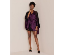 Nayeli Short Kimono In Plum Silk And Black Lace